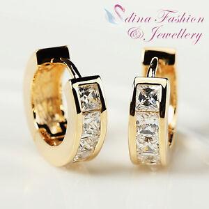 18K-Yellow-Gold-Plated-Simulated-Diamond-Princess-Cut-Fashion-Small-Hoop-Earring