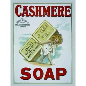 Cashmere-Soap-Bathroom-Showeroom-Hotel-Vintage-Old-Small-Metal-Tin-Sign