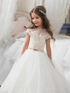 aa7c444257a New Lace Flower Girl Dresses First Communion Dress for Little Girls ...