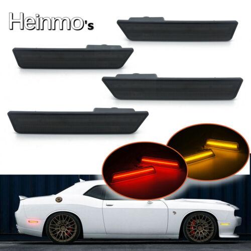 Smoke Lens Front /& Rear LED Side Marker Light For 2008-2014 Challenger Amber+Red