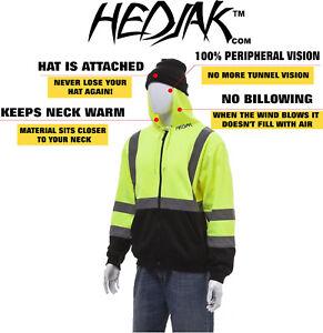 HEDJAK High Visibility Black Front  Safety Hoodie Zip Up Sweatshirt Hi-Vis