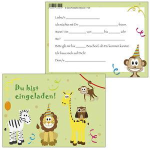 Das Bild Wird Geladen 10 Postkarten Einladungskarte Einladung Geburtstag  Kinder Bunte Tiere