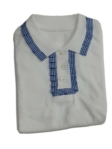 Unique girls frill detailed neck school polo shirt white COLOUR  SIZES 7-8Years
