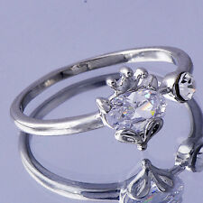 Vintage Jewelry Womens White Gold Filled Clear clear crystal Crown Ring Size 8