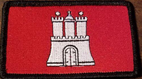 Hamburg Germany Flag Embroidered Iron-On Patch Hamburgfahne Emblem Black  Border
