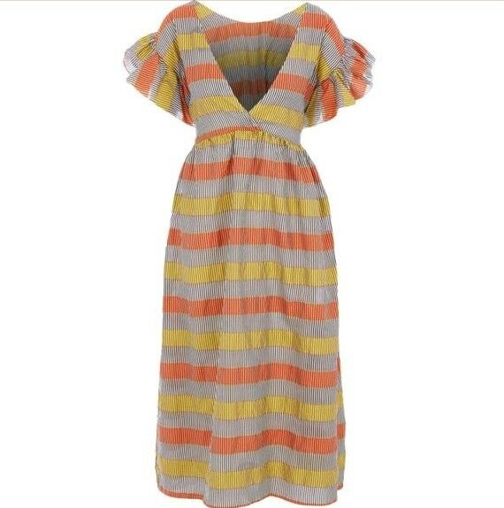 CAVIAR STATUS STATUS STATUS  Zita Dress - Gelb & Orange Stripe - UK 14 US 10 - 457967