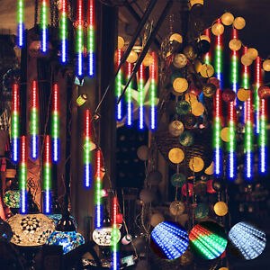 Solar-LED-Meteor-Shower-Lights-Falling-Rain-Icicle-Outdoor-Garden-Party-Decor