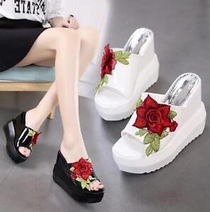 18-Women-Wedge-High-Heel-Open-Toe-Beach-Flower-Slingbacks-Sandals-Slippers-Shoes