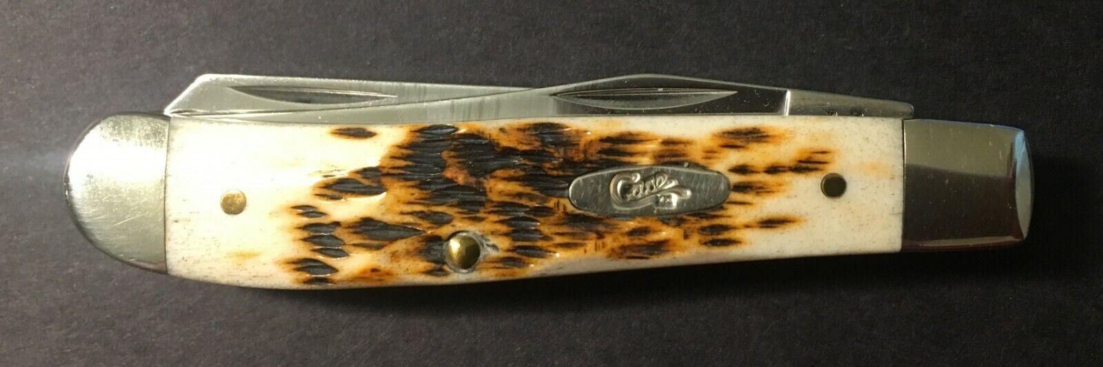2014 Case XX 6207 Stainless Steel Mini-Trapper Amber Bone Pocket Knife