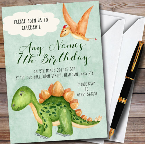 Green Watercolour Dinosaur Personalised Childrens Birthday Party Invitations