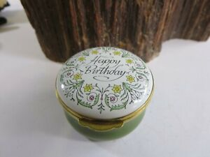 Vintage Crummles & Co Happy Birthday Enamel Trinket Box Floral Green Base KCA5