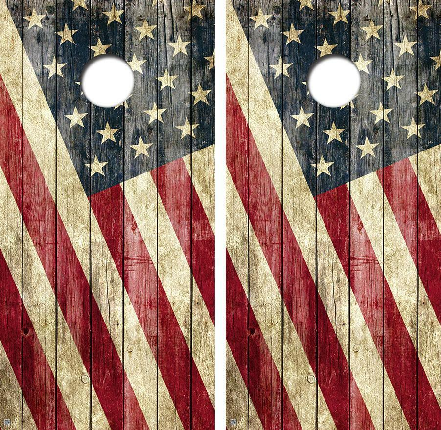 Old Glory Flag Vintage Limited Edition Cornhole Board  Decal Wrap FREE SQUEEGEE  outlet online store