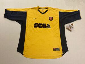 Arsenal 1999/2000 Away Yellow Black Nike Sega Football Jersey Shirt Size XXL 2XL