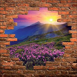 Deco Paysage sticker mural trompe l'oeil mur de pierre déco paysage montagne réf