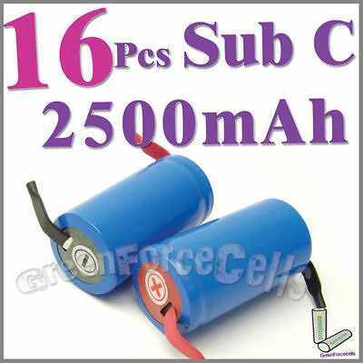 16 Sub C SubC Tab 2500mAh NiCd Rechargeable Battery Blue