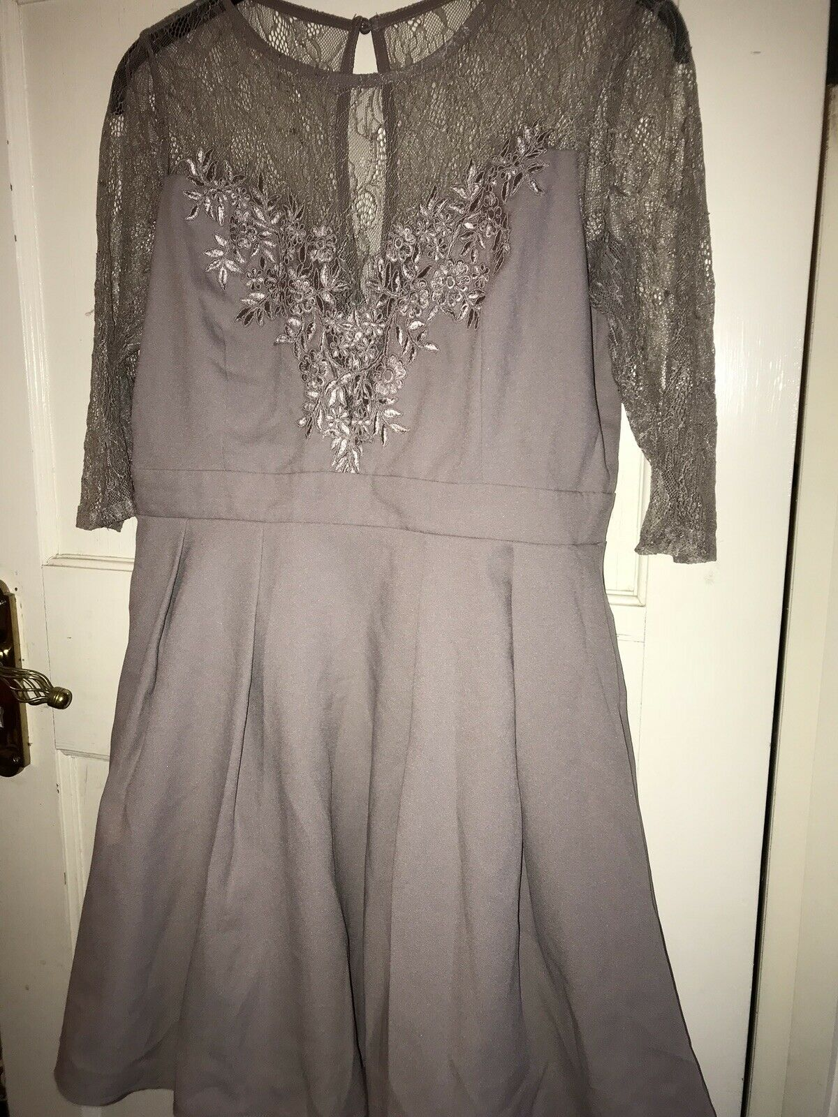 Little Mistress Dress Size 16 NEW With Tags Lace Pink Grey Sleeved
