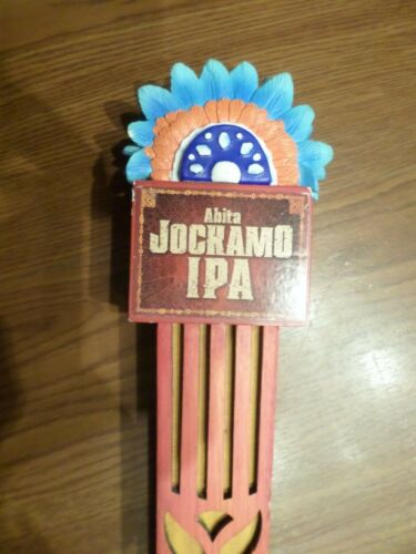 "Abita Jockamo IPA Feather Headdress Fan 11"" Beer Keg Tap Handle Shift Knob Rare"