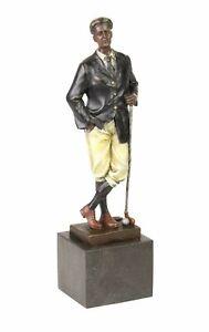 Bronzeskulptur-Golf-Golfer-im-Antik-Stil-Bronze-Figur-Statue-Pokal-32cm