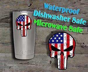 Punisher Skull American Flag Decal Sticker Yeti Rambler Cup Mug - Stickers for yeti cups