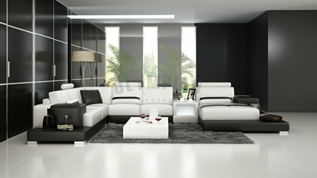 Modern Large LEATHER SOFA Corner Suite NEW RRP £5499 Black White Sectional WF