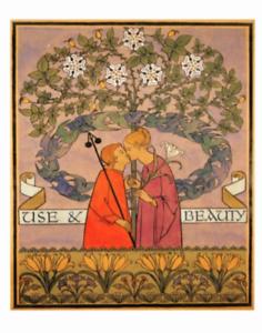 Postcard: CFA Voysey repro print Doves Lily Man /& Woman Kiss Use /& Beauty