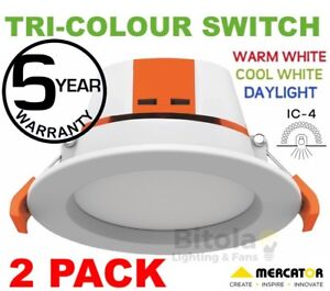 NEW-2-x-9W-LED-DOWNLIGHT-CCT-TRI-COLOUR-WARM-NEUTRAL-COOL-WHITE-MERCATOR-APOLLO