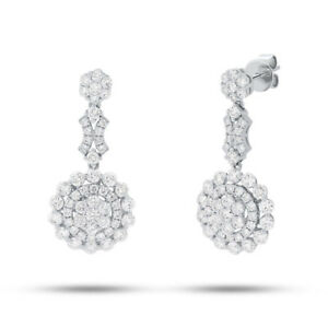 18K-White-Gold-Dangle-Drop-Diamond-Earrings-Natural-Round-Cluster-Dangling-New