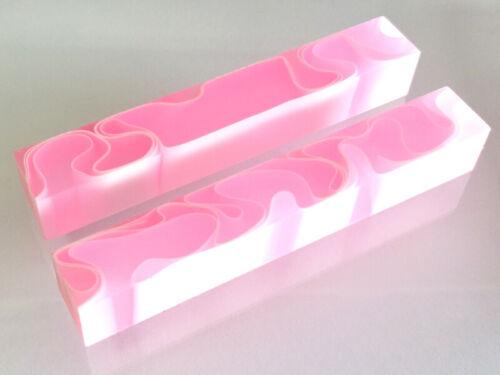 Acrylkantel-rose bonbon avec blanc ligne 130x20x20mm Pen Blanks Kantel Acrylique