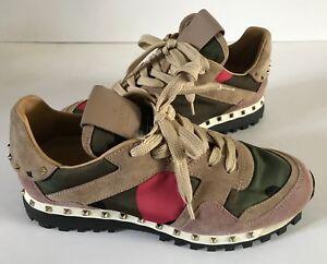 6090487d7afa3 Image is loading Valentino-Garavani-Rockstud-Camo-Trainer-Sneakers-size-37-
