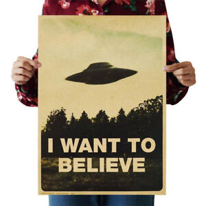 Vintage-Classic-X-FILES-034-I-Want-To-Believe-034-Home-Room-Decor-Kraft-Paper-Poster-1X