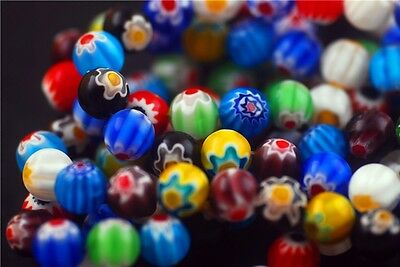 Lot 6 8 10mm Colorized Round Flower Millefiori Glass Bead Jewelry Finding Charms