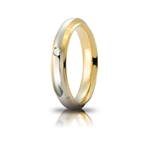Fede Nuziale UNOAERRE Cassiopea con Diamante gold yellow bianco