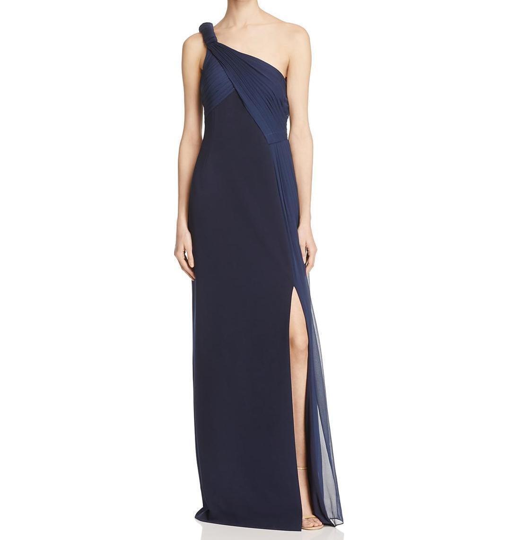 Aidan Mattox NWT Dress Größe 4 Navy Blau Draped One-Shoulder Crepe Gown damen