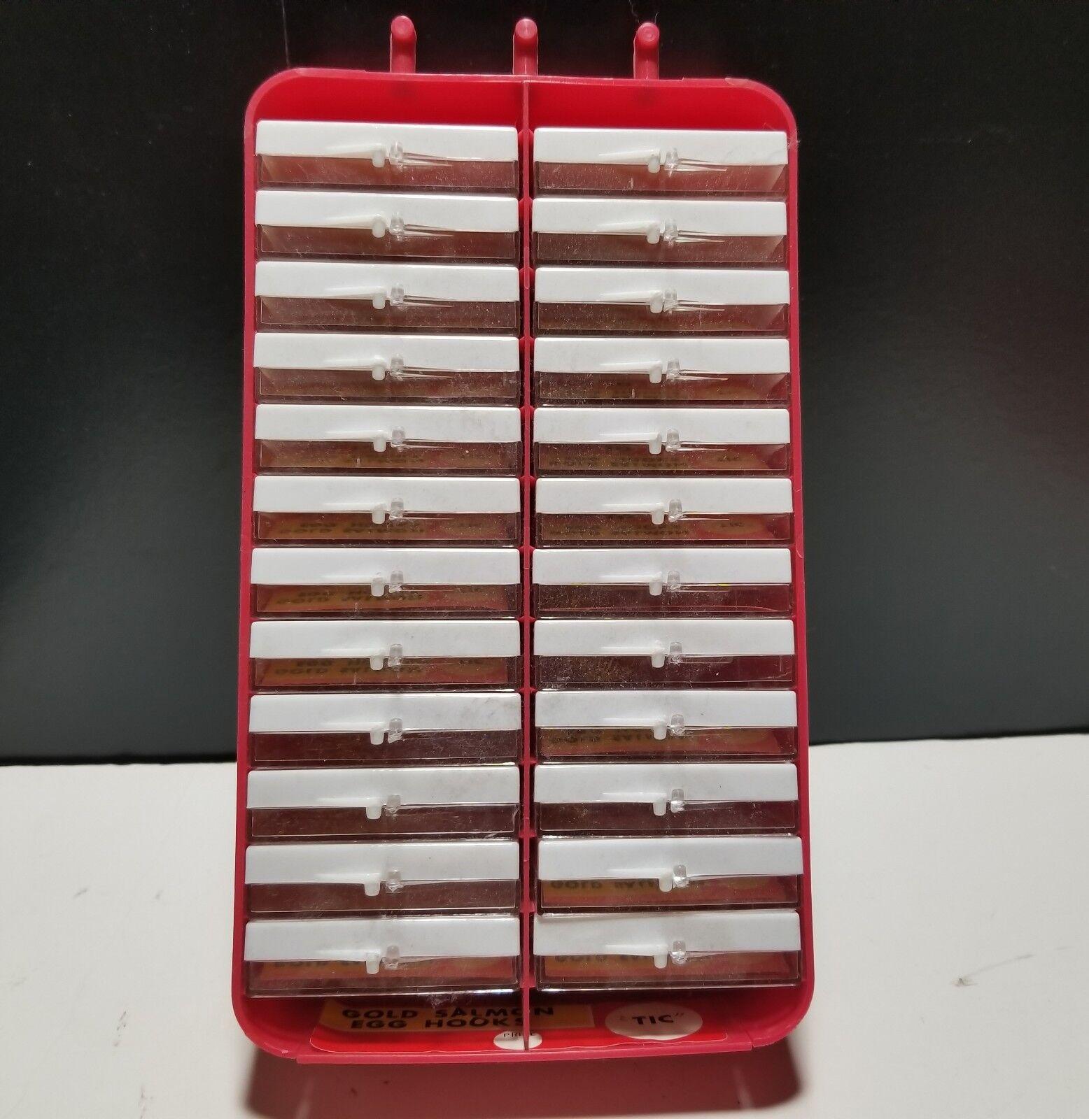 TIC Gold Salmon Egg Hooks Größe Größe Größe 10 JAPAN 24 pks x 10 Hooks Plastic Cases Vtg NOS c78434