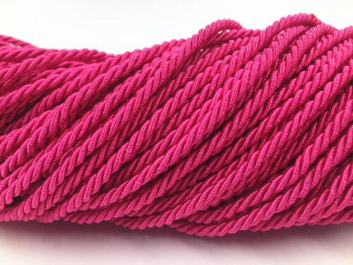 5-10 M métallisé rose rouge Twisted Corde Bordure Corde Cordon Trim 3 mm