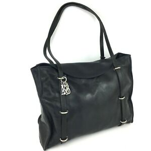 A-S-98-Leder-Damen-Schultertasche-Shopper-dunkelblau-schwarz