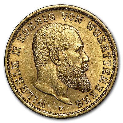 1894-1914 Germany Gold 20 Mark Wuerttemberg Wilhelm II Avg. Circ.