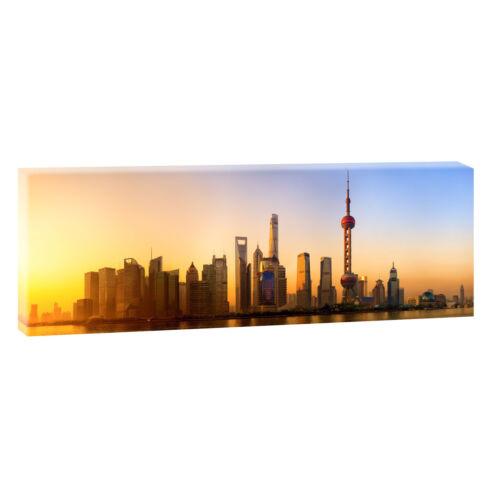 Shanghai Skyline Bild Leinwand Poster Städte Modern Design 150 cm* 50 cm 618