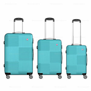 3 Piece Hardside Luggage Wheels Spinner Suitcase Code Lock 20'' 24'' 28'' Teal