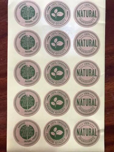 ORGANIC NATURAL STICKERS LABEL,SCRAPBOOK,BAKERY,SOAP,GIFT BAGS,GIFT BOX