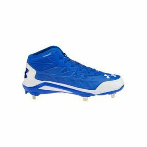 Nuovo Under Armour Uomo Spine Heater Mid Baseball Cleats blu and bianca