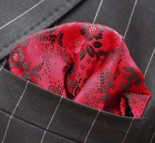 Hankie Pocket Square Handkerchief Red Black /& Silver Floral