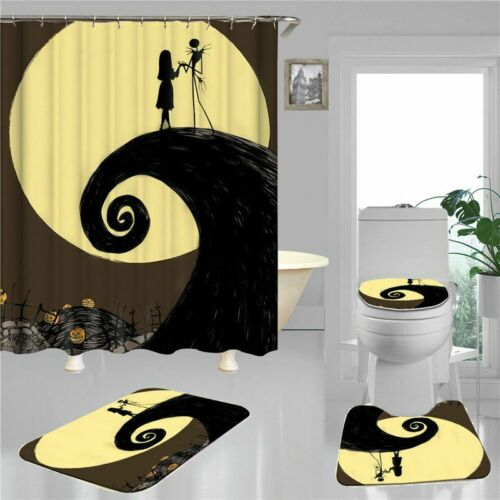 4Pcs The Nightmare Before Christmas Bathroom Rugs Set Shower Curtain Toilet Mat