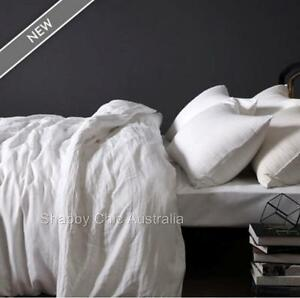 100-Pure-Linen-French-Provincial-White-King-Bed-Doona-Duvet-Quilt-Cover-Set