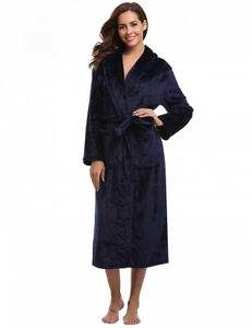 2375fc8d2 Détails sur Aibrou Peignoir Femme Velours Robe de Chambre Polaire Chaud  Long Flanelle...