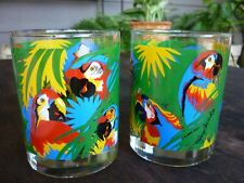 2 Vintage Georges Briard Tropical Parrot Double Old Fashioned Rocks glasses RARE