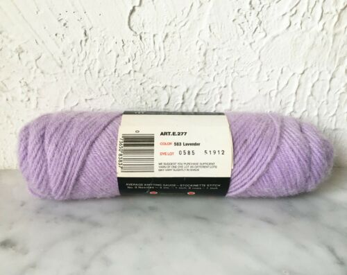 Vintage Red Heart Caress Acrylic//Nylon Brushed Yarn 1 Skein Lavender #583