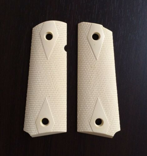 NEW BEIGE RESIN GRIP FOR COLT GOVERNMENT 1911 FULL SIZE KIMBER CLONES CHECKERING