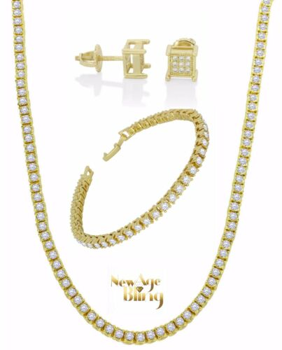 Iced Out Bundle Set 1 Row Chain Bracelet Earrings 14k Gold Plated Hip Hop