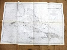 VINTAGE ADMIRALTY CHART - WEST INDIA ISLANDS  &  THE CARIBBEAN SEA , 105 x 70 cm